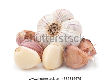 Garlic vegetable closeup isolated on white - stock photo