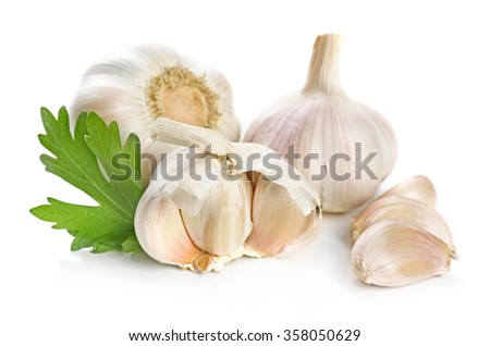 Garlic with leaves of parsley isolated on white - stock photo