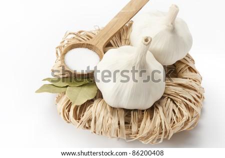 garlics, laurel and salt - stock photo