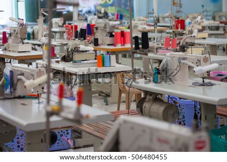 garment factory with no people and many tailoring tools