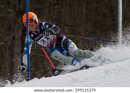 GARMISCH PARTENKIRCHEN, GERMANY. Feb 11 2011: Andrea Jardi (SPA) competing in the women's slalom at the 2011 Alpine skiing World Championships.