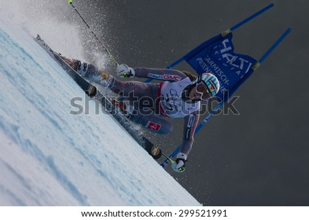 GARMISCH PARTENKIRCHEN, GERMANY. Feb 17 2011: GAGNON Marie-Michele (CAN) competing in the women's giant slalom  race  at the 2011 Alpine skiing World Championships