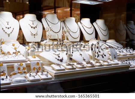 Garnet jewelry shop window display - stock photo