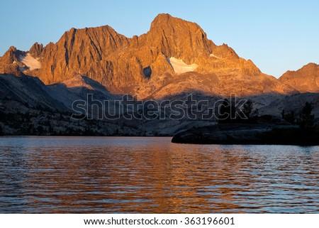Garnet Lake, Mt Ritter and Banner Peak, The Ansel Adams Wilderness, California - stock photo