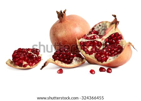 garnet, pomegranate berries, on a white background