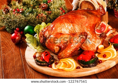 Garnished roasted turkey - stock photo