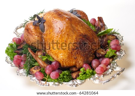 Garnished roasted turkey on platter over white background - stock photo