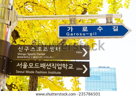Garosugil Street Sign, Garosugil is a trendy tree-lined street with plenty of cafes, bars, restaurants and shops. Hugely popular with fashion aficionados and even celebrities.  - stock photo