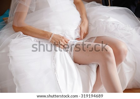 Sexy lingerie wedding bride stock photo 590389658 for Slimming undergarments for wedding dress