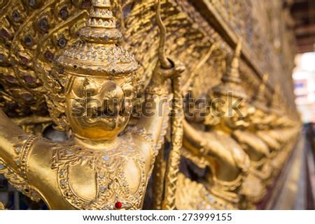 Garuda in Wat Phra Kaew, Temple of the Emerald Buddha, Grand Palace, Thailand - stock photo
