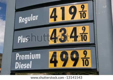 Gas and Diesel prices going up - stock photo