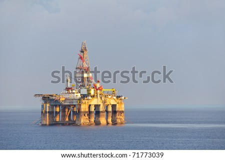 Gas and oil rig platform - stock photo