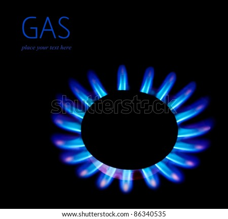 Gas blaze blue flower, isolated on black background with text space, industrial concept, consumption of natural resources - stock photo