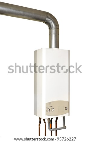Gas boiler isolated on a white - stock photo