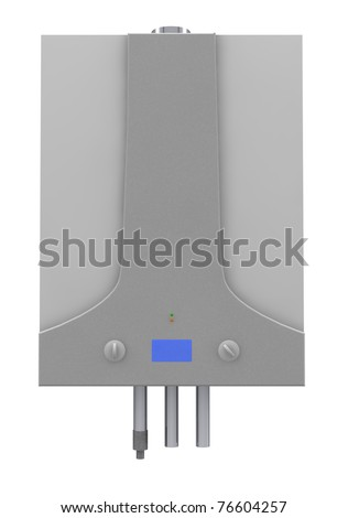 Gas boiler isolated on a white background - stock photo