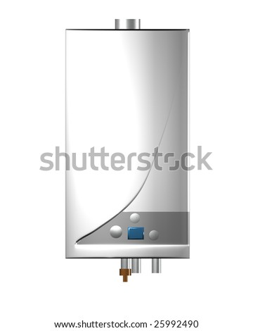 Gas boiler isolated on the white background. Including clipping path. - stock photo