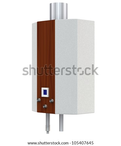 Gas boiler on a white background - stock photo