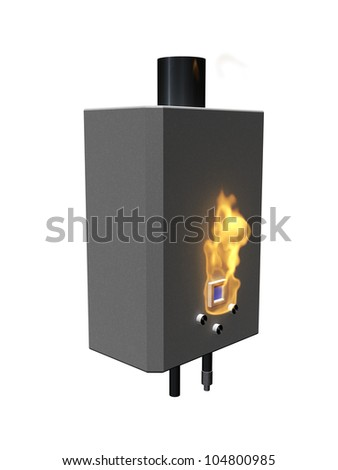 Gas boiler with flame on a white background - stock photo