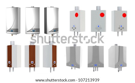 Gas boilers isolated on a white background. - stock photo