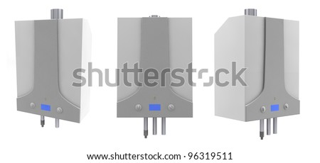 Gas boilers isolated on a white background - stock photo