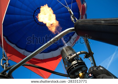 gas burner balloon with fire on the background of the dome - stock photo