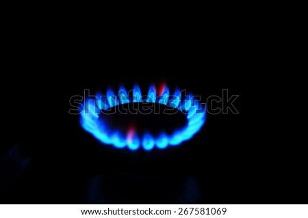 Gas burner blue close up - stock photo