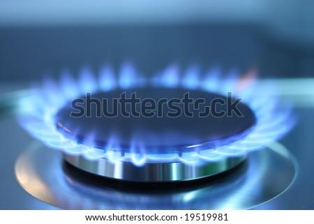 Gas burner flame - stock photo