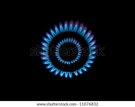 Gas burner flames view from the top isolated on black - stock photo