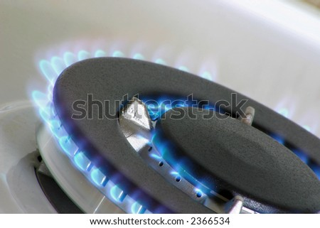 gas burner for a large pan or wok - stock photo