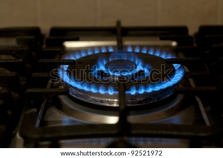 Gas burner on a stove - stock photo