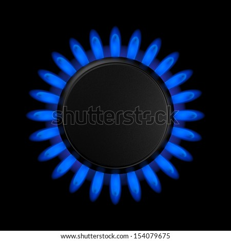 Gas burners in the kitchen oven, 3d illustration - stock photo