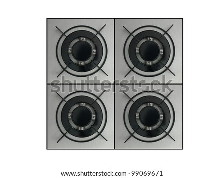 Gas burners isolated against a white background