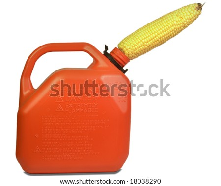 Gas can filled by corn - stock photo