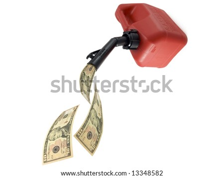 gas can pouring money - stock photo