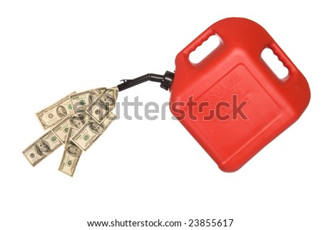 Gas can pouring out hundreds of dollars to mirror the high costs of gasoline. - stock photo