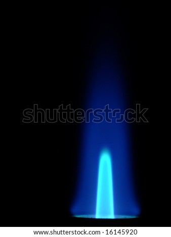 Gas candle. Macro. Blue fire