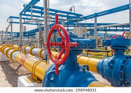 Gas compressor station in Ukraine in bright sunny summer day