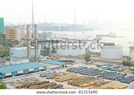 gas container and bridge - stock photo
