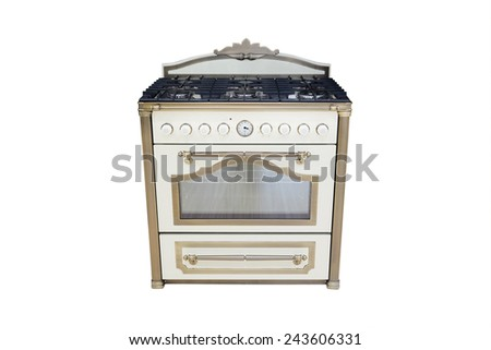 gas cooker isolated under the white background - stock photo