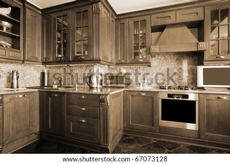 Gas cooker on modern and beautiful kitchen - stock photo