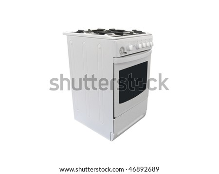 gas cooker under the white background - stock photo