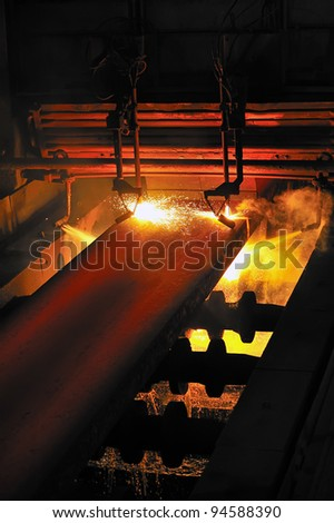 Gas cutting of the hot metal - stock photo