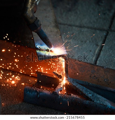Gas cutting of the metal. - stock photo