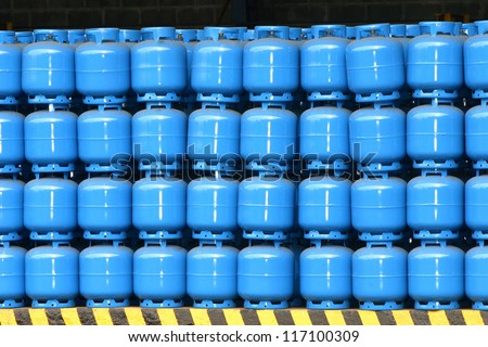 gas cylinder storage for delivery - stock photo