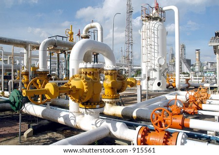 Gas distribution center in Bontang, Kalimantan, Indonesia, Asia - stock photo