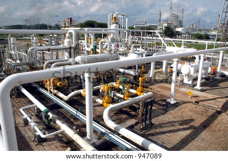Gas distribution facility in Bontang, Kalimantan, Indonesia, Asia