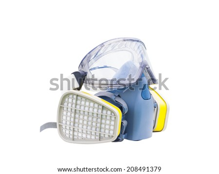 gas filter mask and goggle, protective devices on white background