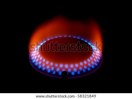 Gas fire close-up - stock photo