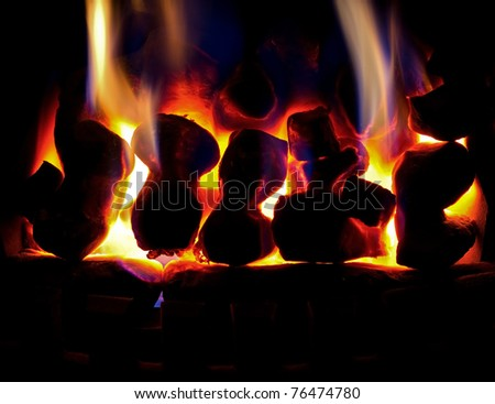 Gas fire fireplace - stock photo