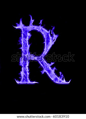 """Gas fire font  """"R"""" - stock photo"""